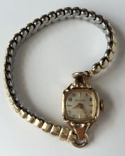 Vintage ladies BULOVA 10k rolled gold plated watch with stretchable bracelet