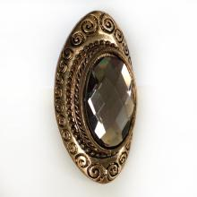 Bronze color Oval shape Checkerboard Smoky quartz color adorned the tracery of a pattern cocktail ring