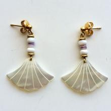Gold plated push backs earrings with carved genuine mother of pearls
