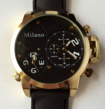 Yellow gold plated men's MILANO round watch with rubber band, black dial
