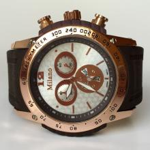 Pink gold plated men's MILANO round watch with rubber band, white dial