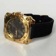 Gold plated square men's watch OMAX since 1946 Quartz 5BAR water resist with rubber band and black dial