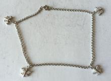 Rhodium plated CZ sterling silver butterfly charms anklet or bracelet. Length 9