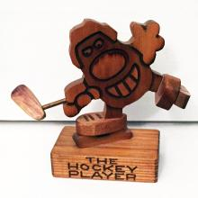 Vintage carved from real wood THE HOCKEY PLAYER
