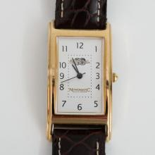 Gold plated rectangular ADMIRAL Games for the World NovomatiC group of companies watch with genuine original leather band