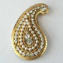 Gold tone leaf shape with white rhinestones and faux pearls pin brooch, signed CRAFT G