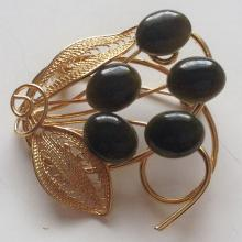 Gold plated filigree brooch with genuine oval Jade cabochons in shape,of FLOWERS