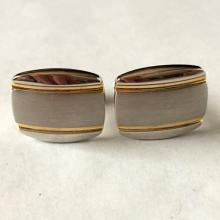 Vintage silver tone with gold plated lines rectangular cufflinks, signed TRUMP