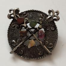 Silver tone oxidized pin brooch with genuine free shape stones