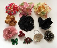 Set of dozen FLOWER pins made out of different colors and textures materials
