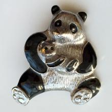 Silver tone textured finish PANDA MOM with BABY shape brooch pin with black enamel