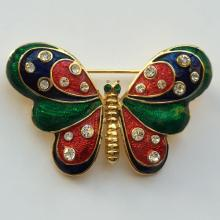 Gold plated BUTTERFLY shape pin brooch with multi color enamel and white rhinestones