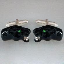 Panther head cufflinks Enamel Sterling silver nice gallery green enamel eyes