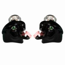 18k gold Panther head cufflinks Black Enamel Green Tzavorite eyes Black onyx