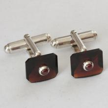Sterling silver Cufflinks 925 genuine ruby garnet