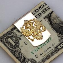 Sterling Silver Russian coat of arms Money Clip Collectible Unique Gold plated