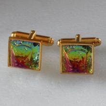 Sterling silver Gold plated Cufflinks with Preciosa Vitrail Dome Glass Etched