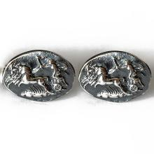 THE CHARIOT OF THE GODS-THE QUADRIGA Coin cufflinks Oxidized sterling silver