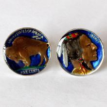 Nickel Coin cufflinks Enamel sterling silver 925