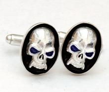 Skull cufflinks Sterling silver 925 oval shape enamel Hand Made flat