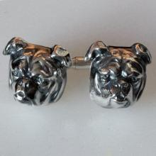BULDOG cufflinks Sterling silver 925 Hand Made 3D