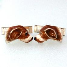 DOG spaniel cufflinks Sterling Silver 925 enamel Hand Made 3D
