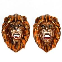 Lion head cufflinks Sterling silver GP Enamel