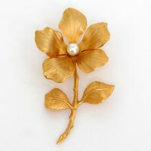 Gold plated FLOWER with stem, leaves shape textured brooch pin with white faux pearl in the center of flower