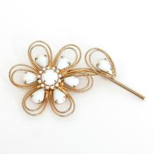Gold plated FLOWER shape brooch pin with textured wire, faceted and cabochon prongs set white stones, signed NAPIER