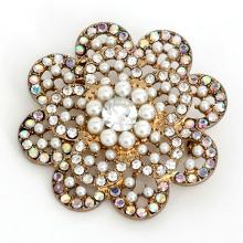 Gold plated FLOWER shape pin brooch with white faux pearls and mystic color and white rhinestones