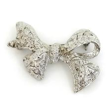 Silver tone rhodium plated BOW shape pin brooch