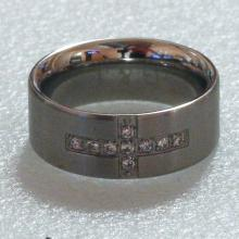 Stainless steel cross shape CZ band style ring, size 7
