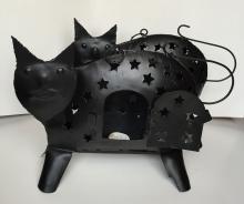 Lot of 2 Iron Cat Lantern black color votive holder