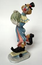 Vintage Clown on skating board figurine statuette, marked 1987