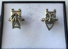 Mardi gras masks oxidized sterling silver cufflinks