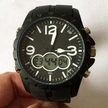Black rubber CHINA watch with black rubber bracelet.Black dial with working light, start/stop, mode, reset knobs