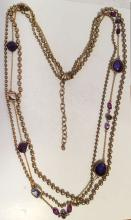 Gold plated satin finish round beads and iolite color faceted flat beads multi strands necklace, signed CHICO'S
