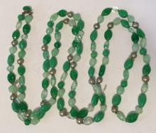 Light green color different shapes knotted beads necklace with hidden claps