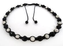 Shambala necklace with faceted black round beads,hite round beads with rhinestones with black rope