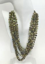 Sterling silver multi strands of double knotted green color genuine mother of pearl beads necklace with sterling silver clasp