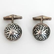 Vintage sterling silver round cufflinks