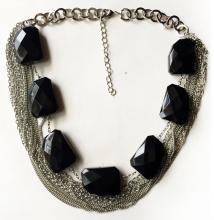 Silver tone multi chains necklace with lobster clasp and huge black free shape checkerboard cut beads strand