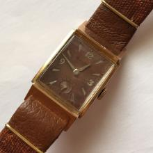 Vintage Bulova 14k pink gold filled rectangular wristwatch with genuine brown color leather new band