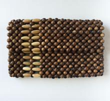 Vintage round and long wooden beads hand made bag. Made in Korea