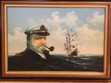 AMOS CARR SAILING SHIP AND CAPTAIN FACE HUGE ORIGINAL OIL ON CANVAS PAINTING