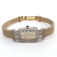 Gold plated ladies dressy diamond watch GENEVE Q with gold tone dial and mesh bracelet