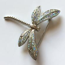 Silver tone with glitter on wings DRAGONFLY pin brooch