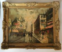 Vintage Street scene old oil painting in very old frame