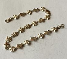 Sterling silver enamel and small CZ flower and turtle shape links anklet with lobster clasp, length 10
