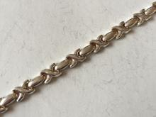 Sterling silver hollow puffy anklet with lobster clasp, length 10